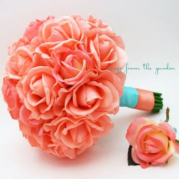 Coral Real Touch Roses Tiffany Blue Aqua Wedding Bouquet Real Touch Silk Flower Wedding Choose Your Colors Coral Turquoise Aqua Tiffany Blue
