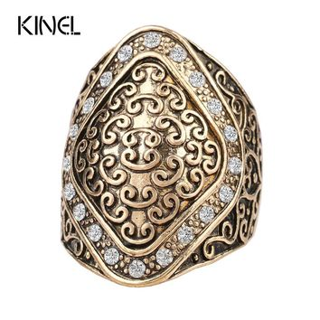 2016 New Crystal Jewelry Vintage Color Gold Rings For Women Classical Pattern Selectable Ring Sets