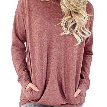 HOTAPEI Women Casual Long Sleeve Round Neck Sweatshirt Loose T Shirt Blouses Tops