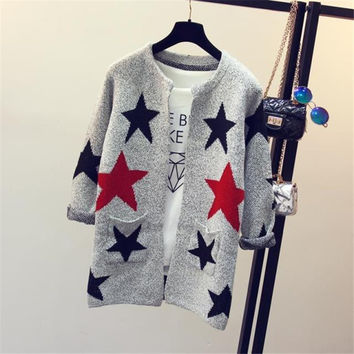 Women Sweater 2016 new arrivals Fashion Star Pattern Cardigans Female Sweaters Long Sleeve Knitted Slim Women Sweater Cardigan