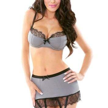 Bra and Skirt Set with Garters