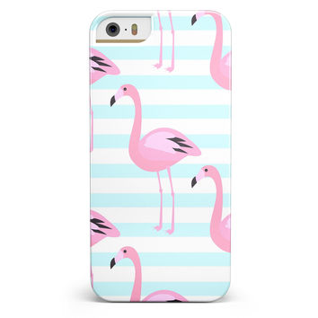 Pink Flamingos Over Blue Stripes iPhone 5/5s or SE INK-Fuzed Case