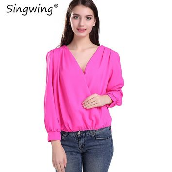 Singwing Women Sexy V-neck Chiffon Blouses Lace long-sleeved Shirts Hollow Out in Back Solid Color Hole Blouse Tops