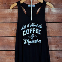 Mascara and Coffee Tank Black