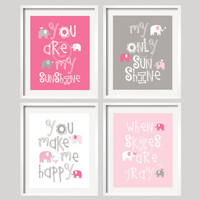 Pink and Gray Nursery Decor Prints - You Are My Sunshine - Elephant and bird -  8x10 - baby shower gift, for boy or girl by YassisPlace