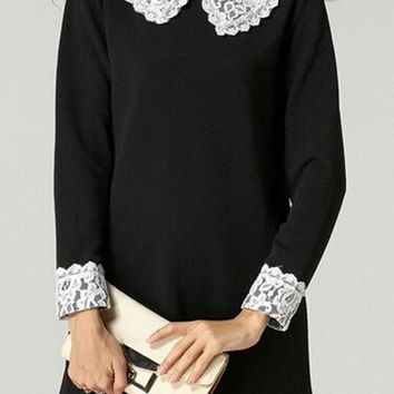 Casual Black Patchwork Lace Pleated Zipper Peter Pan Collar Long Sleeve Mini Dress