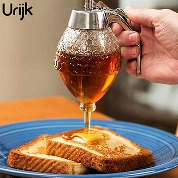 Urijk Honey Dispenser Transparent Acrylic Jars Spoon Honeycomb Bottle Honey Squeeze Storage Tank Muffins Companion Kitchen Tool