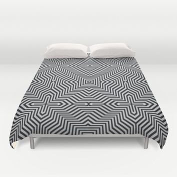 Minimal Geometrical Optical Illusion Style Pattern in Black & White Duvet Cover by Jeanette Rietz