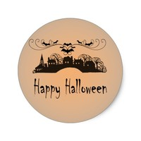 Happy Halloween Art Gifts Classic Round Sticker