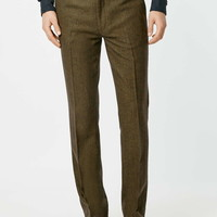 Dark Green Wool Blend Skinny Fit Suit Pants