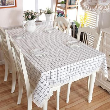 Rural style Table Cloth Literary Artistic Lattice Tablecloth Linen Rectangular Tablecloths with Lace Home Textile