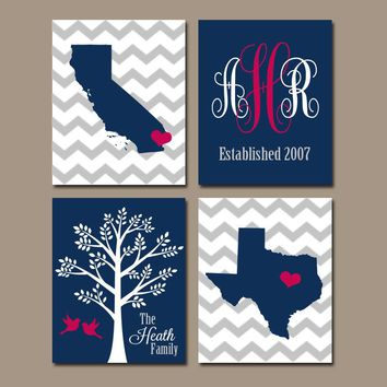 TWO STATES Wall Art, Family Canvas or Prints Family Couple Gift, Personalized Wedding Gift Tree Birds Monogram Est Date Set of 4 Navy