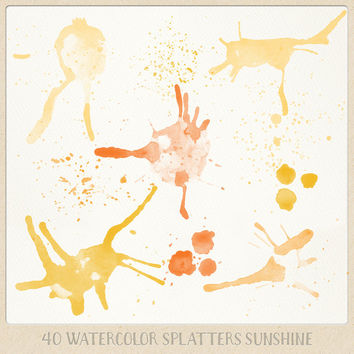 Watercolor clipart splatter splashes (40) orange yellow saffron tangerine. hand painted overlays logo design blogs cards printables wall art