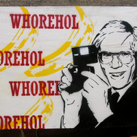 WHOREHOL Andy Warhol Portrait Spray-Painted on Recycled Wood 28.28X18.25