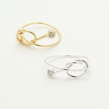 Cubic Zirconia Knot Ring / wire knot ring, best friend ring, forever tie ring, adjustable ring / R141