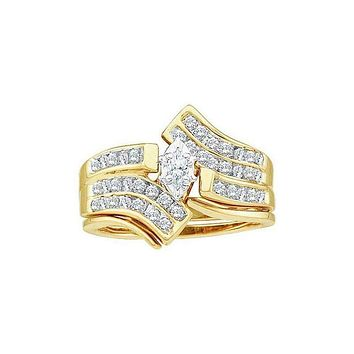 14kt Yellow Gold Women's Marquise Diamond Bridal Wedding Engagement Ring Band Set 1/2 Cttw - FREE Shipping (US/CAN)