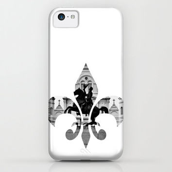 New Orleans iPhone Case iPod Touch iPad Mini Samsung Galaxy Hard Phone Cover Fine Art Unique Gift 6 Plus Nola Fleur de Lis White Iconic