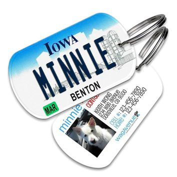 Iowa License Plate Pet Tag