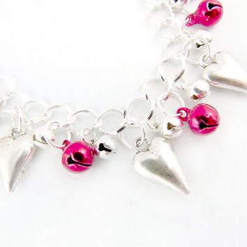 The Queen of Hearts Silver Jingle Anklet by angelyques on Etsy