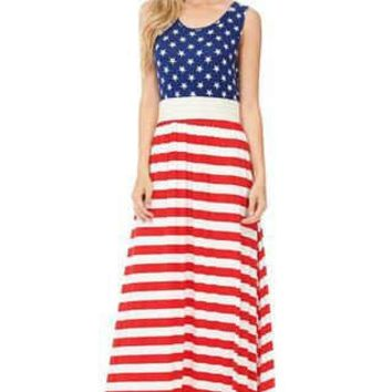 American Flag Sleeveless Fashion Maxi Dress with Band U.S.A