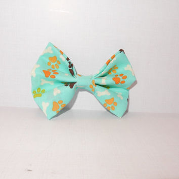 Blue Paw Print Dog Bow Tie