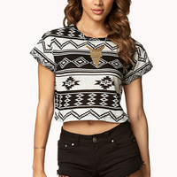 Tribal Print Cropped Tee