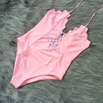 Sexy hot scalloped chest knot lace up handing neck one piece bath suit bikini