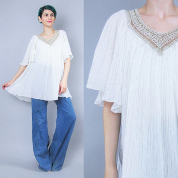 60s 70s  Angel Sleeve Blouse Vintage Cream Gauze Cotton Blouse Crochet Metallic Gold V Neck Hippie Boho Shirt Floaty Tunic Top (M/L/XL)