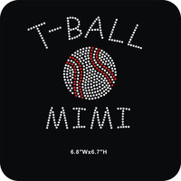 T Ball MiMi iron on rhinestone heat transfer - DIY team sports appliqué motif for shirts tees