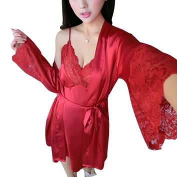 Black Noir Lace Sleepwear New Sexy Womens Silk Satin Ladies Pajamas Sleepwear&Robes Nightdress Nightgown UK 2 PCS+