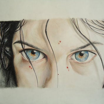 Let the Right One In - Horror decor - Horror movie decor - Movie artwork - Original artwork - Colored pencil art - Original drawing - Art