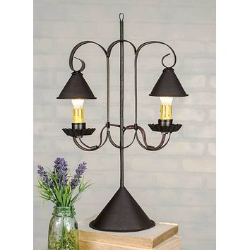 Rustic Double Lamp with Hanging Shades