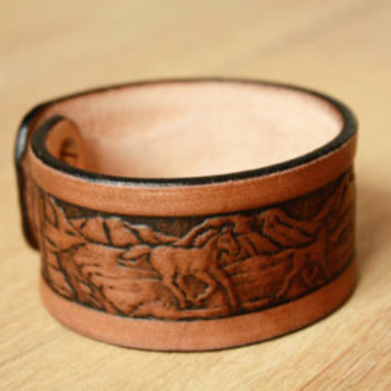 bracelet tool, leather bracelet, tooled bracelet, cuff bracelet, cool men bracelets, wide leather bracelets, cuff bracelets for men