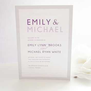 Modern Purple Wedding Program - DEPOSIT