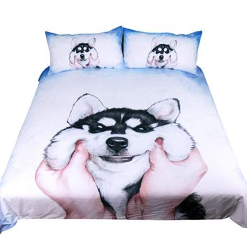 Husky Puppy Watercolor Bedding Set (Super Soft Duvet Cover with Pillowcases)