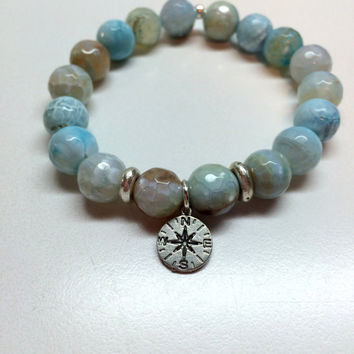 Wanderlust - Agate Bracelet with Compass Charm