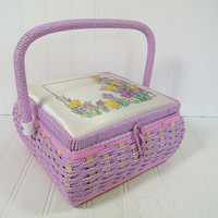 Retro Square Lavender Purple Wicker & Wood Sewing Basket - Vintage Wooden Crafters Case - Purple Satin Interior Artisan Chest - Excellent