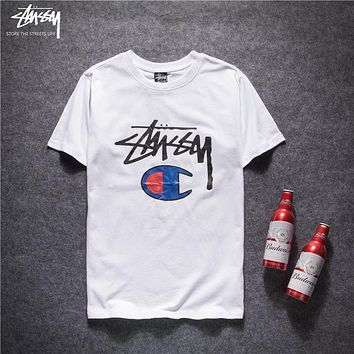 Trendsetter Stussy X Champion Women Men Fashion Casual Shirt Top Tee