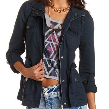 Belted Cotton Anorak Jacket: Charlotte Russe