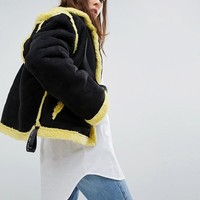 Story Of Lola Oversized Aviator Coat With Faux Shearling Lining at asos.com