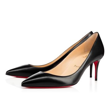 Christian Louboutin CL Decollete 554 Black Leather 70mm Stiletto Heel 12w Best Deal Online