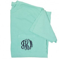 Pigment Dyed Short Sleeved Pocket T shirt Monogrammed