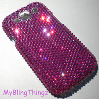 Exquisite Fuchsia Bright Hot Pink Crystal Diamond Rhinestone BLING Back Case for Samsung Galaxy S 3 III handmade using Swarovski Elements
