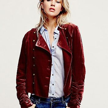 Free People Womens Drippy Velvet Military Jacket