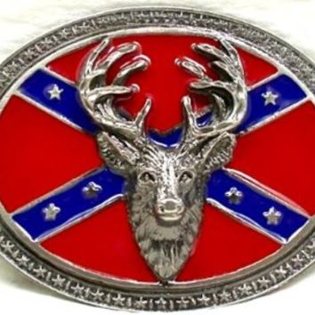 Deer, Confederate Deer Belt Buckle,with (Red) Rebel Flag