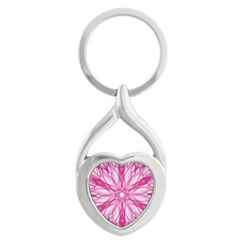 Girly Pink Fractal Art Keychain