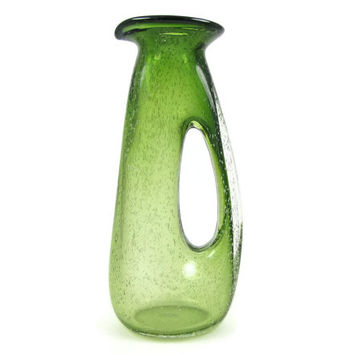 Pour Me - Vintage Blenko Art Glass Pitcher, Two Tone Green with Lots of Bubbles, Mid Century Modern Design, Whole Handle