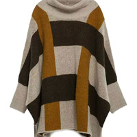 Brown High Neck Plaid Batwing Sleeve Cape Sweater