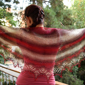 Striped lace shawl, soft summer scarf, womens scarf in red white and brown, shouldercover, crescent shape