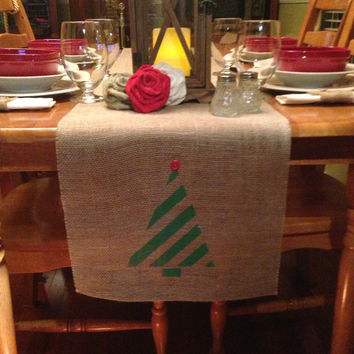"Burlap Table Runner 12"", 14"" or 15"" wide with a Christmas tree on ends - longer lengths"